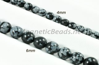 Semi-Precious Beads Snowflake Obsidian Round 4mm or 6mm (SN)
