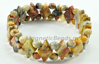 Semi-Precious Beads Crazy Lace Agate Stretch Bracelet (D-CL)