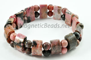 Semi-Precious Beads Rhondonite Stretch Bracelet (HC-RHO)