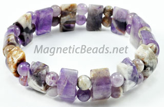 Semi-Precious Bead Amethyst Half Circle Stretch Bracelet (HC-AM)