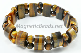 Semi-Precious Bead Brown Tiger Eye Stretch Bracelet (HC-BTE)