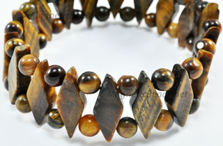 Semi-Precious Beads Brown Tiger Eye Stretch Bracelet (D-BTE)