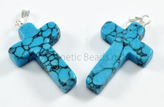 Semi-Precious Beads-Pendant Blue Turquoise Cross (BTC)