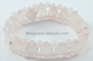 Semi-Precious Beads Rose Quartz Stretch Bracelet (D-RQ)