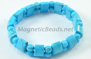 Semi-Precious Bead Blue Turquoise Stretch Bracelet (HC-BT)