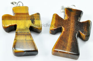 Semi-Precious Beads-Pendant Brown Tiger Eye Cross (TEC)