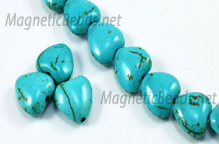 Semi-Precious Beads African Turquoise 12m Puffed Heart (AT-12M)