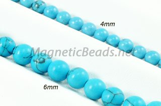 Semi-Precious Beads Blue Turquoise Round Bead 4m and 6m (BT)