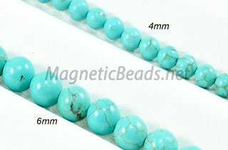 Semi-Precious Beads African Green 4m & 6m Round Turquoise (AT)