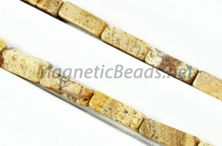 Semi Precious Rectangle Beads 4x13mm Picture Jasper (RCT-PJ)