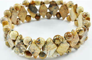 Semi-Precious Beads Picture Jasper Stretch Bracelet (D-PJ)