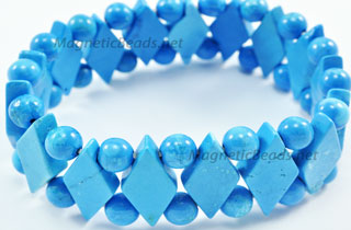 Semi-Precious Beads Blue Turquoise Stretch Bracelet (D-BT)