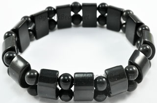 Semi-Precious Beads Black Onyx Stretch Bracelet (HC-BO)