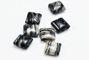 Semi-Precious-Beads Zebra 2 Hole 10x10mm Spacers (SSA-10)